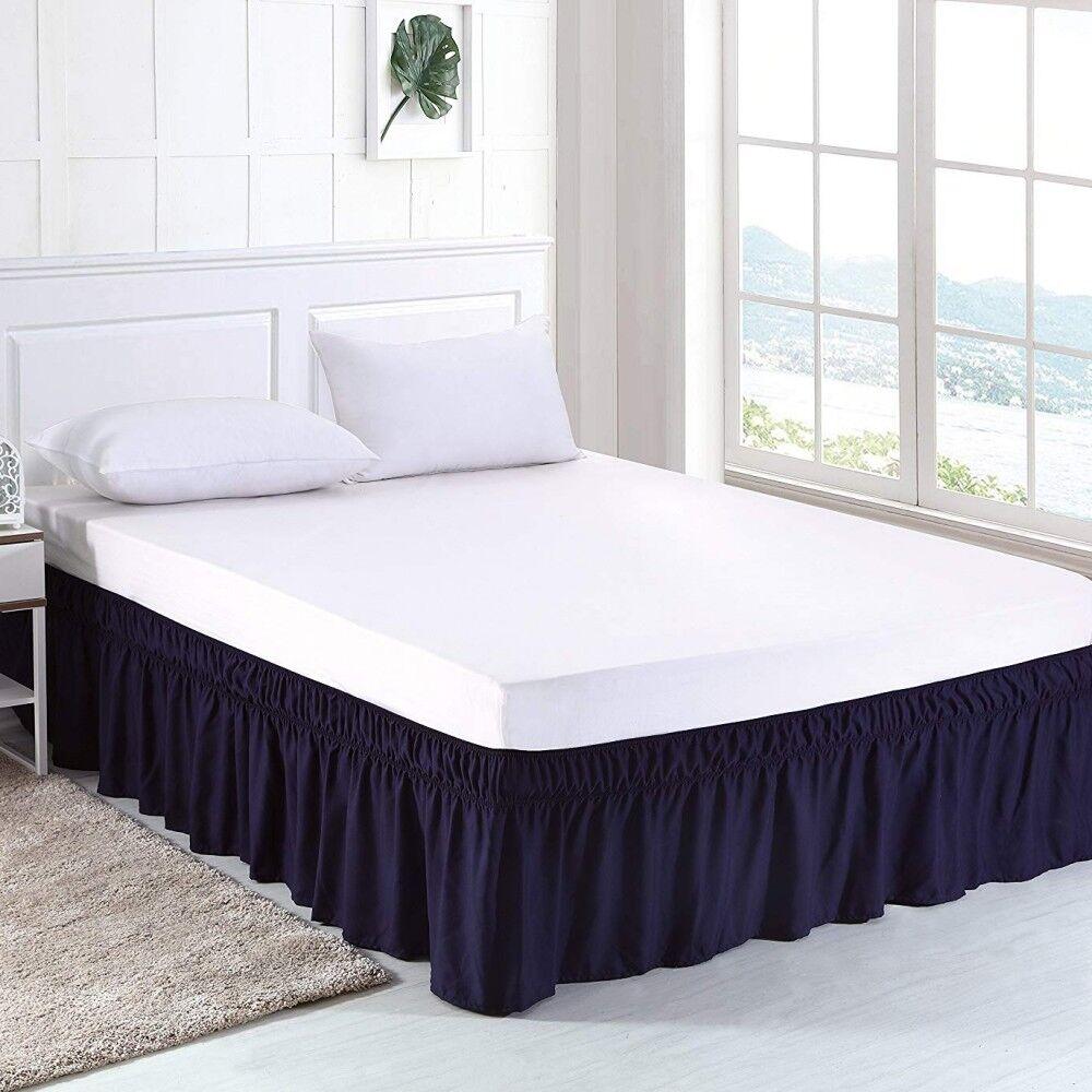 "Elastic Bed Skirt Ruffle Twin Full Queen King 15"" inch Drop White Grey Black"