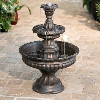 Bronze 3 Tier Outdoor Fountain Water Garden Patio Tall Yard Decor Classic Pump