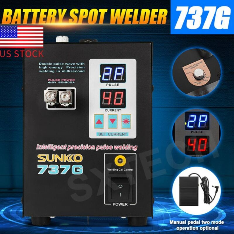 SUNKKO Handheld 737G 800A Battery Spot Welder 110V with Pulse Current Display US