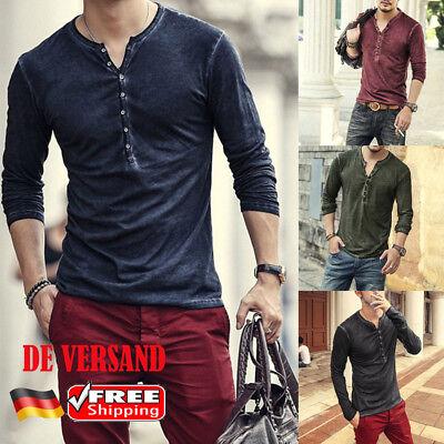 Slim Fit Herren-pullover (DE Herren Vintage Slim Fit T-Shirt Langarm Herbst Pullover Sweatshirt Shirt Tee)
