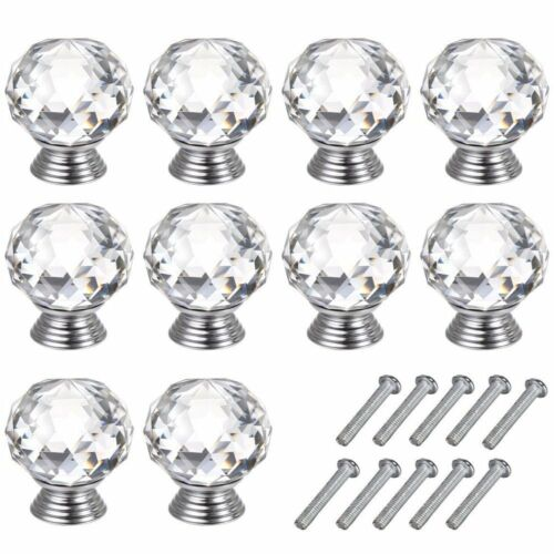32x Door Knobs Handles Clear Crystal Glass Cupboard Drawer