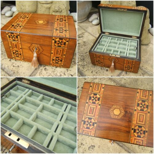 WONDERFUL ANTIQUE JEWELLERY BOX - 19c INLAID WALNUT WONDERFUL INTERIOR