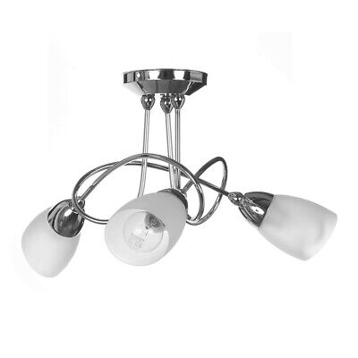 Modern Indoor Cygnus Silver Curved Chrome 3 Light Ceiling Light Glass Shades Curves 3 Light Chandelier