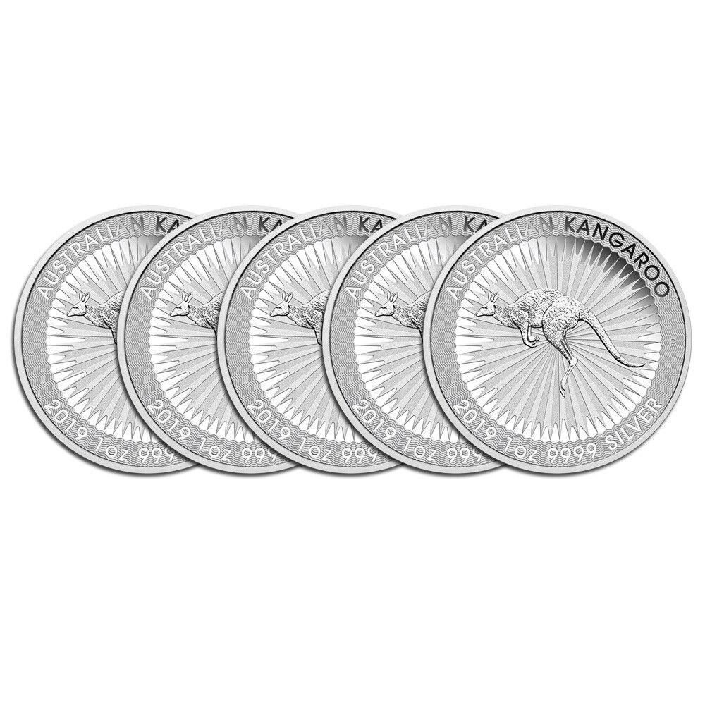 5 x 1 oz Silber Känguru 2019 - 1 Dollar Australien Silbermünze 999,9