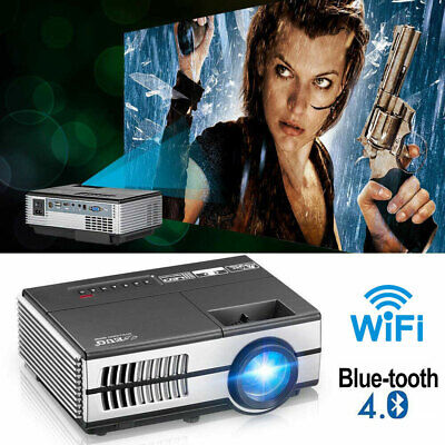 Portable Smart Android Full HD Wifi BT Projector 2800LM Home Cinema Apps Netflix