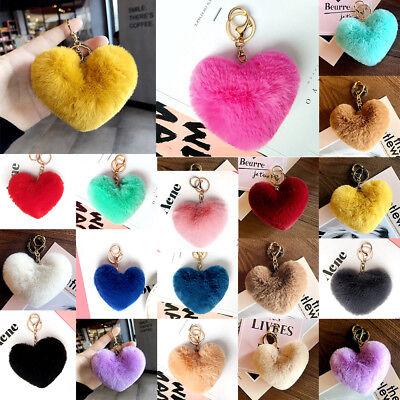 Rabbit Fur Pom-pom Key Chain Bag Charm Heart Fluffy Puff Ball Key Ring Pendant