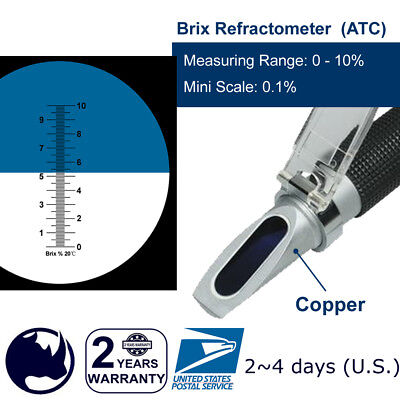 0-10% Brix & Cutting fluid, Rhino Refractometer ATC   Portable Holster   Copper