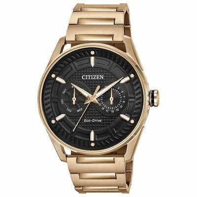 Citizen Eco-Drive CTO Men's Black Dial Rose Gold-Tone 42mm Watch BU4023-54E