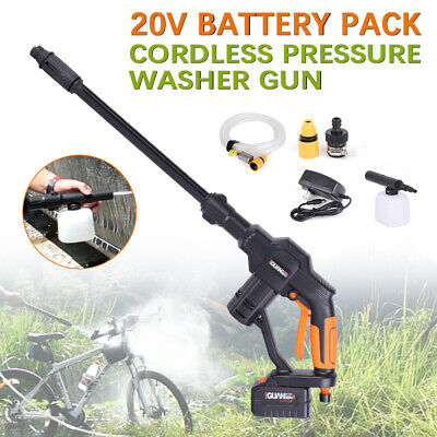 20V Portable Pressure Cleaner Cordless Car Washer Gun Spray+Li-Ion Battery