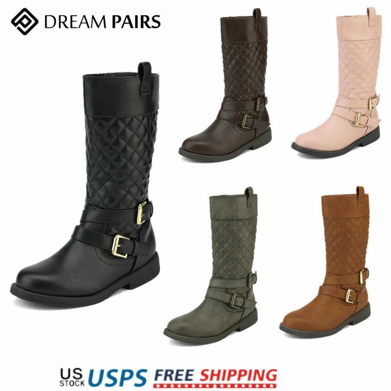 DREAM PAIRS Girls Kids Cute Knee High Fashion Side Zipper Riding Boots