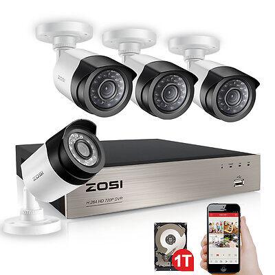ZOSI 4CH 1080P DVR 2MP Außen IR Überwachungskamera Set Sicherheit System 1TB HDD