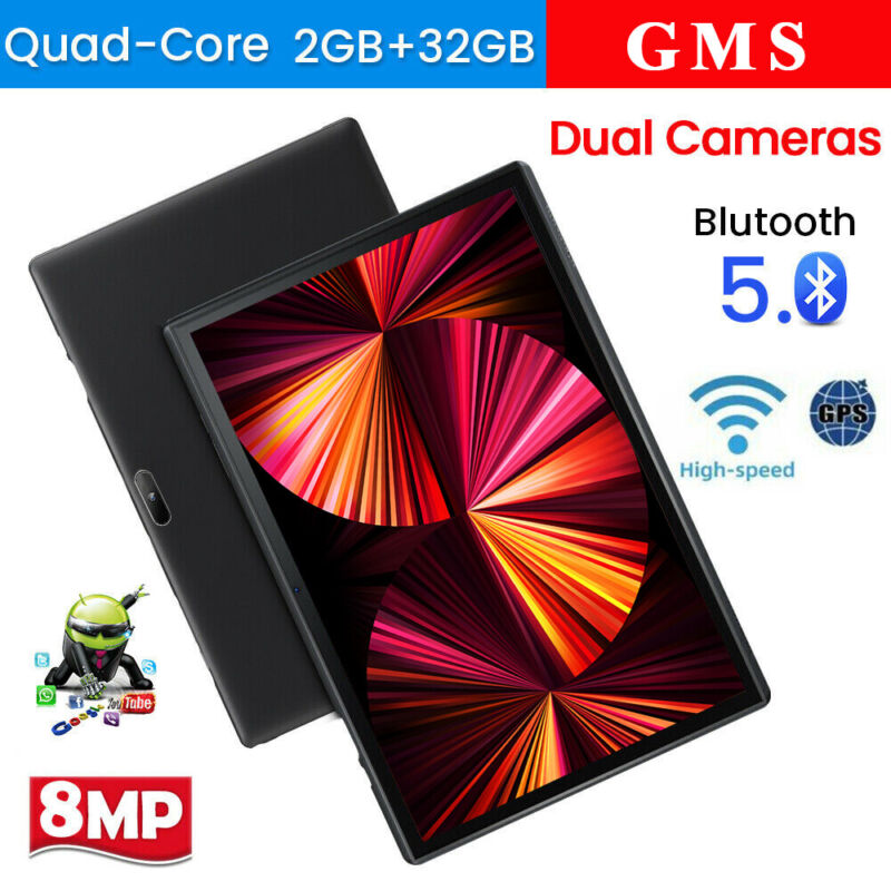 """2021 10.1 """" WiFi Tablet Android 9.0 Pad 2G+32GB Quad-Core Tablet GPS Dual Camera"""
