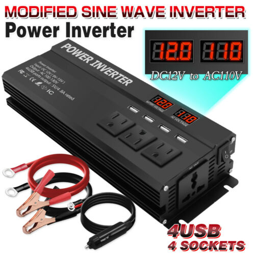 wosume Power Inverter,5000W DC 12V to AC 220V Car Power Inverter Converter USB Charger Adapter with LCD Display