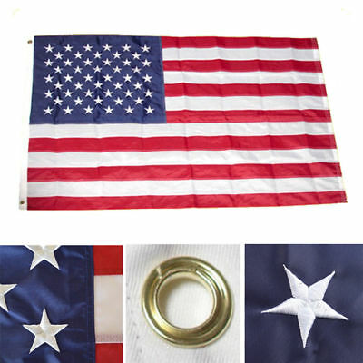 12x18 USA American Embroidered Flag DOUBLE 2 SIDED Boat Flag Grommets USA SHIP