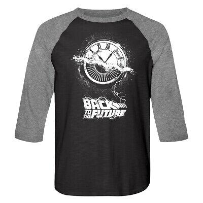 Back to The Future Clocktower Mens Raglan Shirt Wheel of Time Logo Long