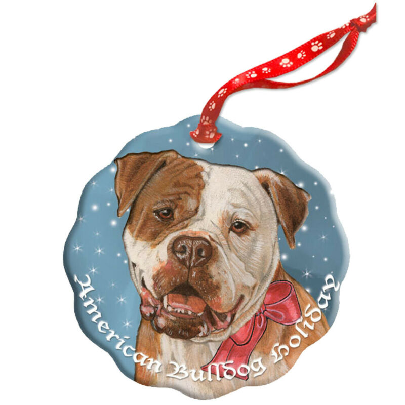 American Bulldog Holiday Porcelain Christmas Tree Ornament