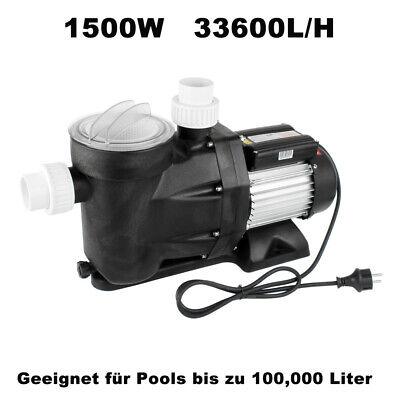 Bomba de Piscina 33600L/H 1500W Filtro Circulación Hasta 100m ³ Pool