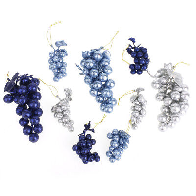 Glitter Grape Clusters Assorted Plastic Christmas Ornaments, Blues, 9-Piece Assorted Glitter Christmas Ornaments