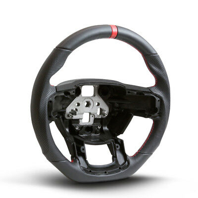 (Handkraftd 2015+ Ford F150 Steering Wheel - Black Perforated Leather/Red Stitch)
