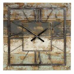 Large Square Wall Clock Barn Wood Metal Rustic Farmhouse Vintage Decor Gray New