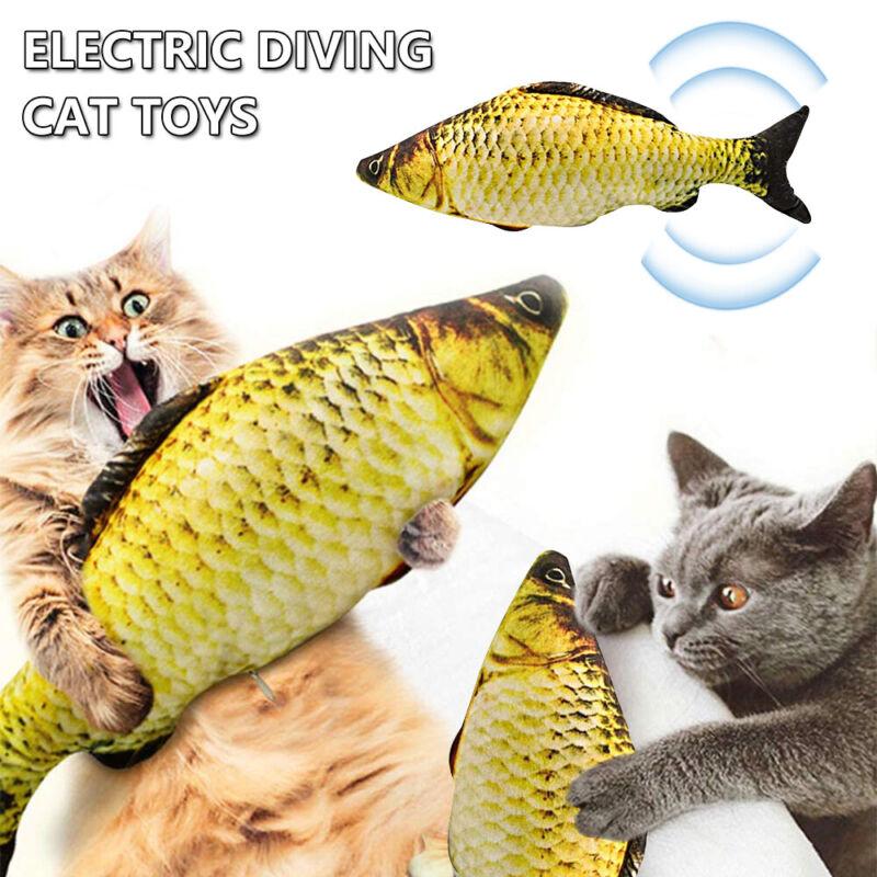 30cm Katzenspielzeug Elektrischer Graskarpfen Wagging Fisch Kratzbaum Kissen DE