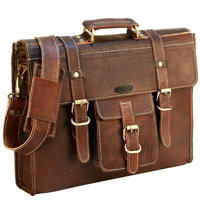 """Leather Briefcase Laptop Messenger-boy Bag 16"""" MacBook Satchel Shoulder Bag Unisex"""