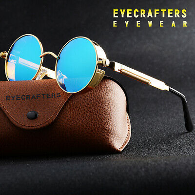 New Vintage Polarized Steampunk Sunglasses Fashion Round Mirrored Retro (Steampunk Sunglasses)
