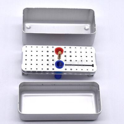 Dental Silver Sterilize Aluminium 68-hole Endo Bur Box Autocla W Measure Ruler