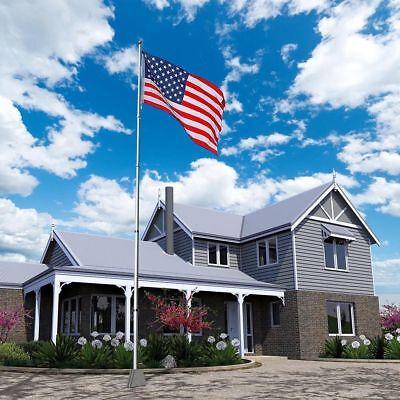 20FT Heavy Duty Flag Pole Inground Residential Flagpole Kit & 2 US American Flag