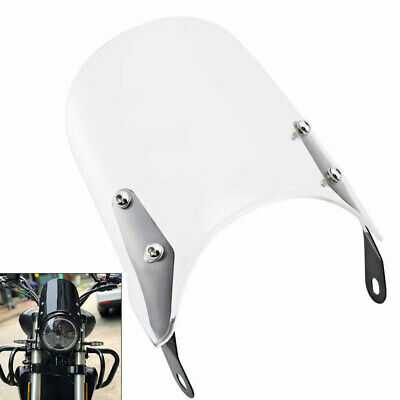 Clear 5-7 ''Motorcycle Round Headlamp Fairing Front Windshield Bracket Custom