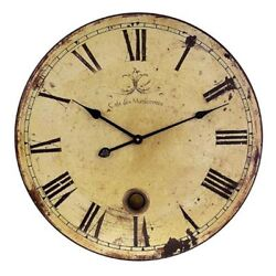 Wall Clock W/ Pendulum Analog Faux Vintage Distressed Home Round Decor Large New