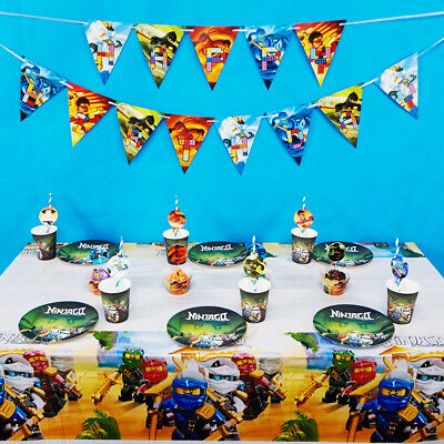 62pcs/lot For 12 Kids Ninjago Theme Birthday Party Decoration Tableware Set