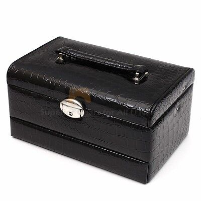 3 Layers Jewelry Box Storage Organizer Case Ring Earring Necklace Mirror Leather