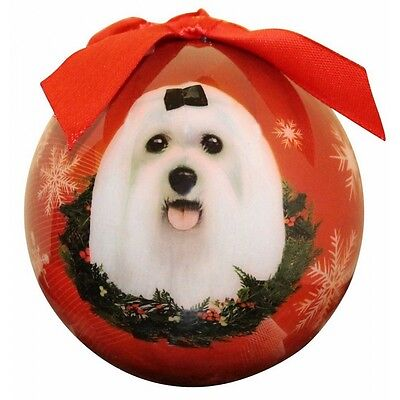 "MALTESE-LONG HAIR--Shatterproof Ball Ornament--3""-- by E & S Pets for sale  Shipping to India"