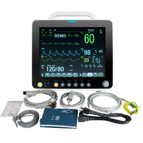 USA CCU/ICU Patient Monitor Vital Signs ECG+NIBP+SPO2+RESP+TEMP+PR Device FDA CE