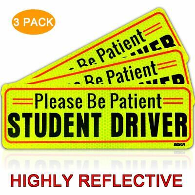 Boka Set Of 3 Student Driver Magnet Highly Reflective New Driver Vehicle Bumper