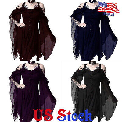 Women Lady V Neck Long Sleeve Gothic Loose Tunic Top Dress Blouse Steampunk Punk