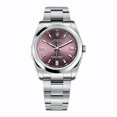 Rolex Oyster Perpetual 36mm No Date Steel Domed Bezel Red Grape Dial 116000NEW