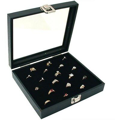 New Glass Top 36 Rings Jewelry Black Display Case Organizer