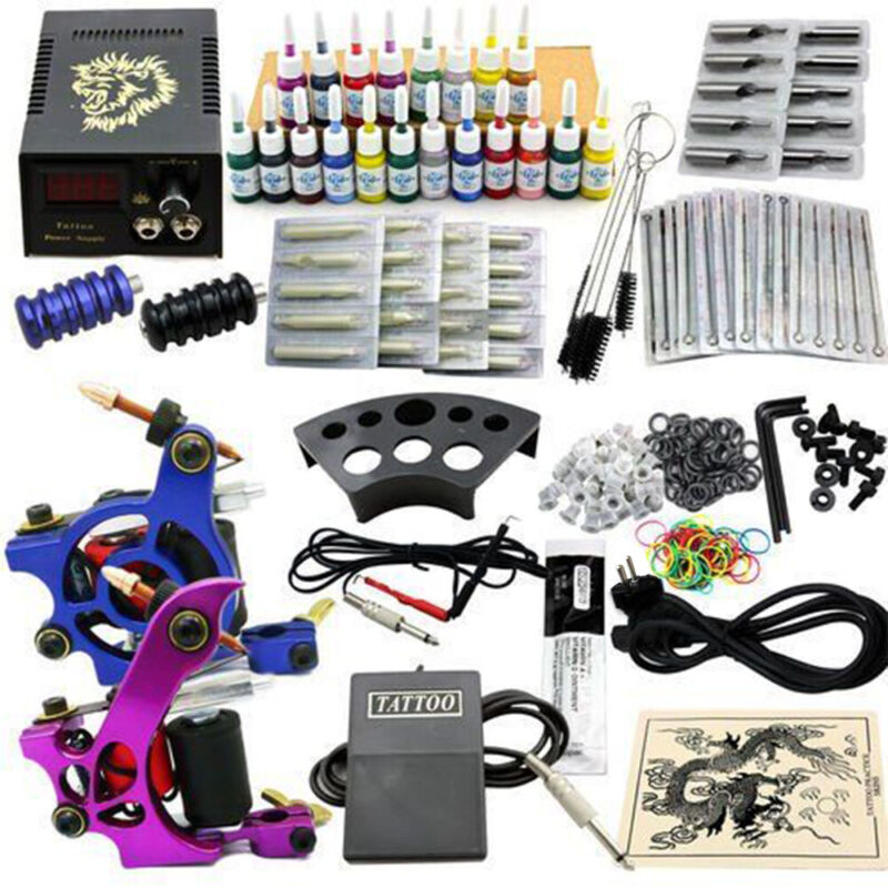 Complete Tattoo Machine Kit 2 Guns 20 Colors Ink with Case Set Power Supply JM15