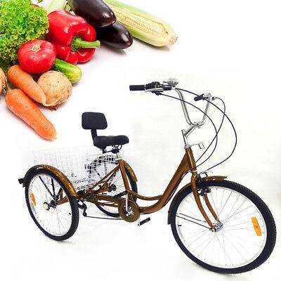 24 Pulgadas Triciclo para Adultos con Cesta de la Compra Manillar Ajustable
