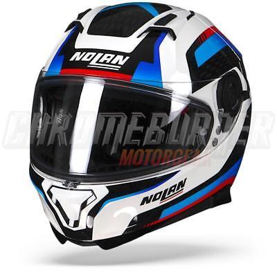- Nolan N87 Arkad N-COM 040 Metal White Blue Red, Full-Face Helmet