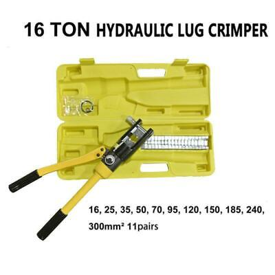 16 Ton Hydraulic Wire Battery Cable Lug Terminal Crimper Crimping Tool 11 Dies