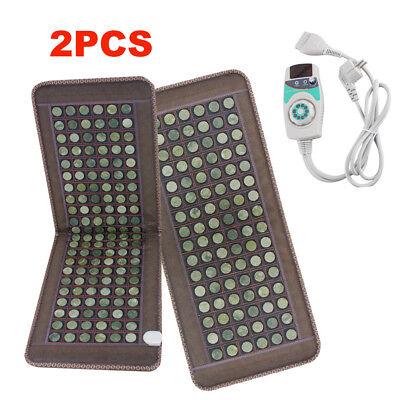 2PCS Stone heating mat Tourmaline Natural Jade Negative Ions InfraRed Pad【USA】