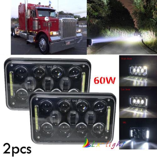 "4PCS 4x6/"" LED Headlights HI//LO For Kenworth Peterbilt Chevrolet Freightliner GMC"