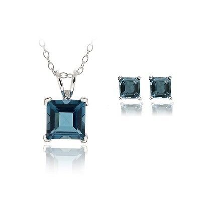 925 Silver 3.65ct London Blue Topaz Square Solitaire Pendant & Stud Earrings Set