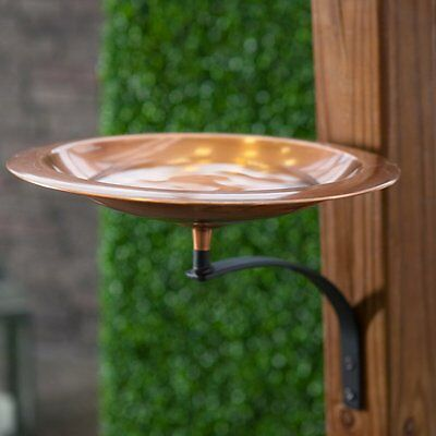 Classic Copper Bird Bath Bowl with Wall Mount Bracket