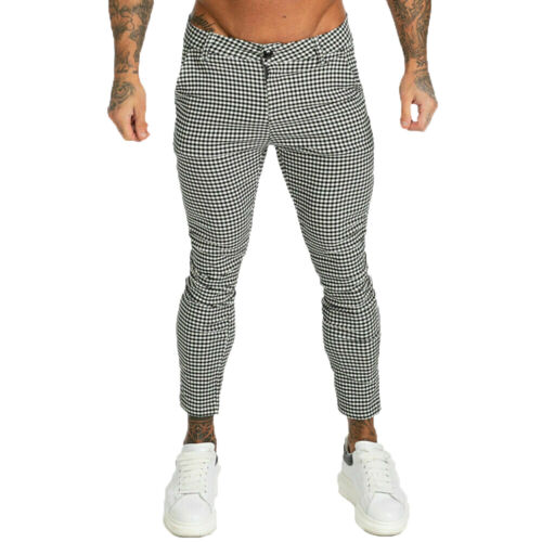 Gingtto Men Chino Trousers Slim Fit Stretch Skinny Tartan Houndstooth Pants