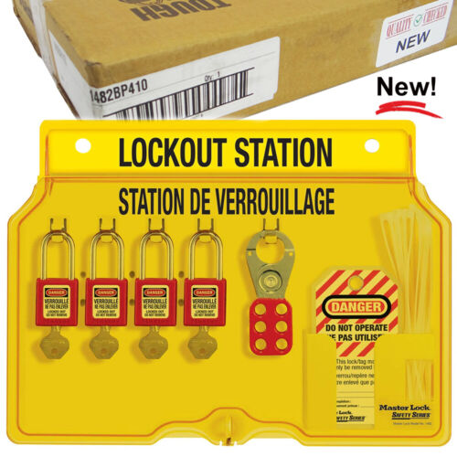 Master Lock Lockout Tagout Station 1482, Includes 4 Zenex Padlocks, 1482BP410