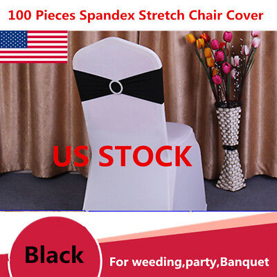 100PC Spandex Stretch Wedding Chair Cover Sashes Bow Band Party Banquet Black